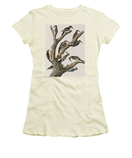Woodpeckers Women's T-Shirt (Junior Cut) by John James Audubon