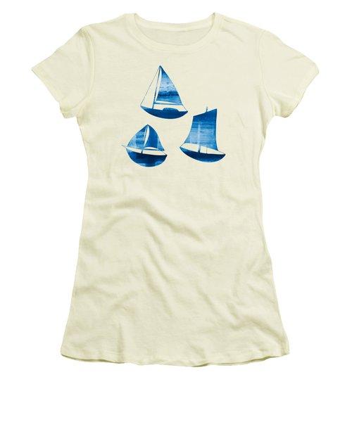 3 Little Blue Sailing Boats Women's T-Shirt (Junior Cut) by Frank Tschakert
