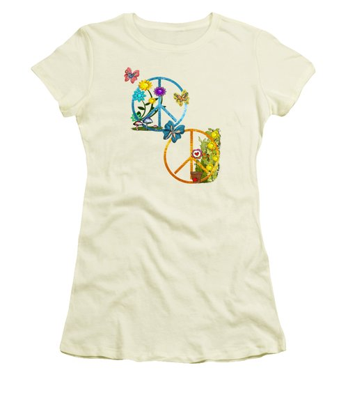 A Very Hippy Day Whimsical Fantasy Women's T-Shirt (Junior Cut) by Sharon and Renee Lozen