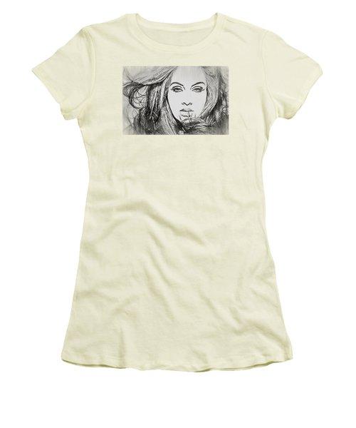 Adele Charcoal Sketch Women's T-Shirt (Junior Cut) by Dan Sproul
