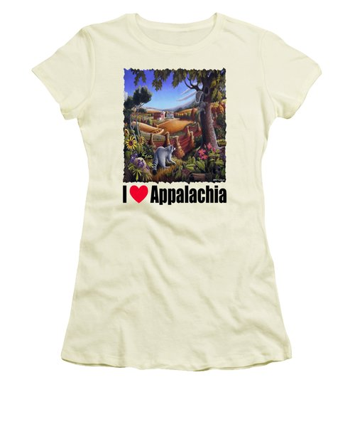 Amish Country - Coon Gap Holler Country Farm Landscape Women's T-Shirt (Junior Cut) by Walt Curlee