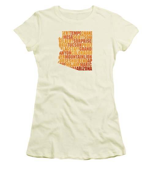 Arizona State Outline Word Map Women's T-Shirt (Junior Cut) by Design Turnpike