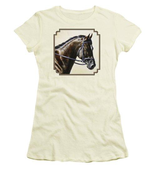 Dressage Horse - Concentration Women's T-Shirt (Junior Cut) by Crista Forest