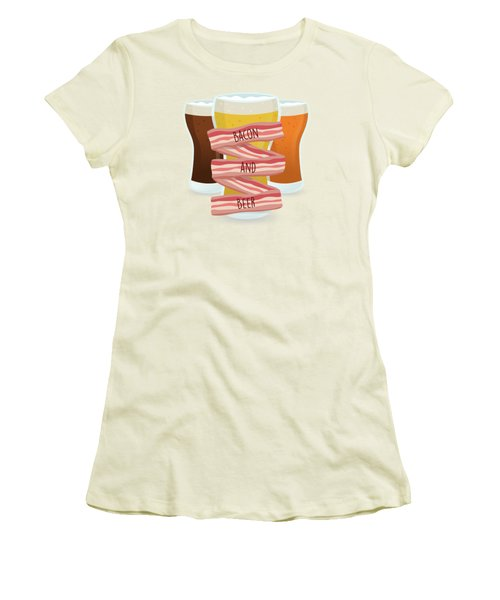 Bacon And Beer Women's T-Shirt (Junior Cut) by Renato Kolberg
