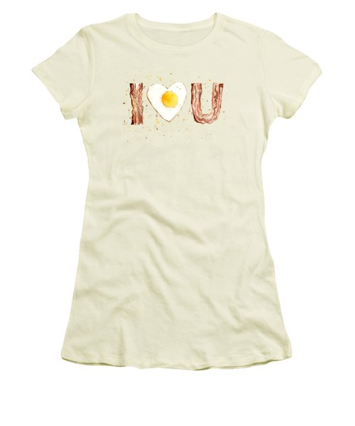 Bacon And Egg I Heart You Watercolor Women's T-Shirt (Junior Cut) by Olga Shvartsur