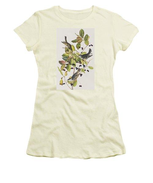 Black Poll Warbler Women's T-Shirt (Junior Cut) by John James Audubon