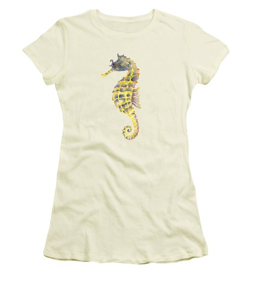Blue Yellow Seahorse - Vertical Women's T-Shirt (Junior Cut) by Amy Kirkpatrick