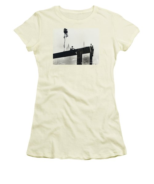 Building The Empire State Building Women's T-Shirt (Junior Cut) by LW Hine