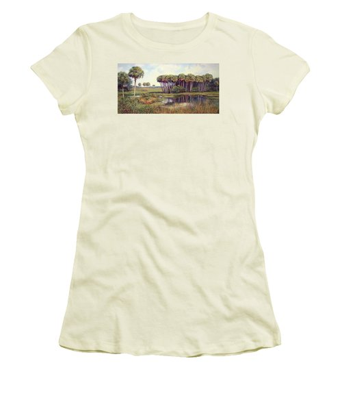 Cabbage Palm Hammock Women's T-Shirt (Junior Cut) by Laurie Hein