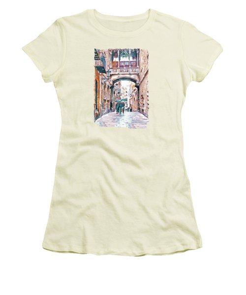 Carrer Del Bisbe - Barcelona Women's T-Shirt (Junior Cut) by Marian Voicu