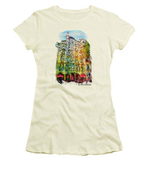 Casa Batllo Barcelona Women's T-Shirt (Junior Cut) by Marian Voicu