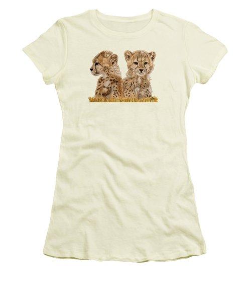 Cheetah Cubs Women's T-Shirt (Junior Cut) by Angeles M Pomata