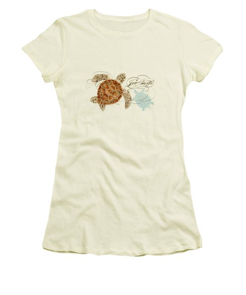 Coastal Waterways - Green Sea Turtle Rectangle 2 Women's T-Shirt (Junior Cut) by Audrey Jeanne Roberts