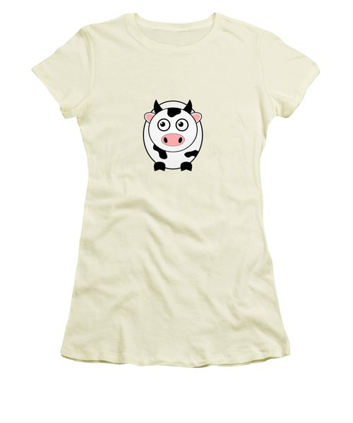 Cow - Animals - Art For Kids Women's T-Shirt (Junior Cut) by Anastasiya Malakhova