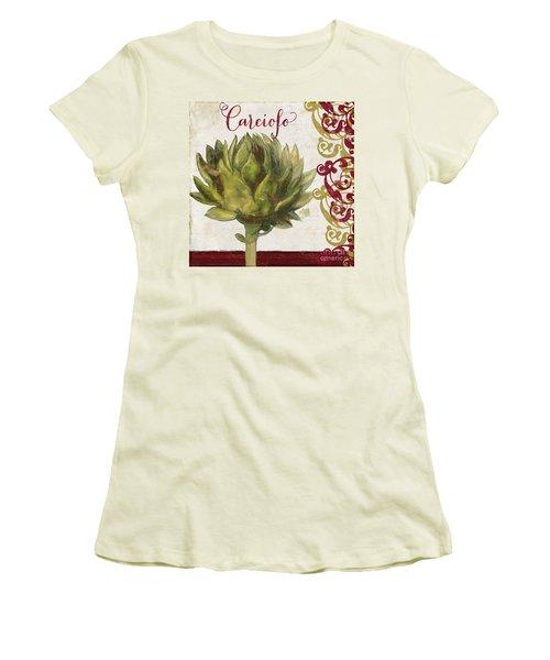 Cucina Italiana Artichoke Women's T-Shirt (Junior Cut) by Mindy Sommers