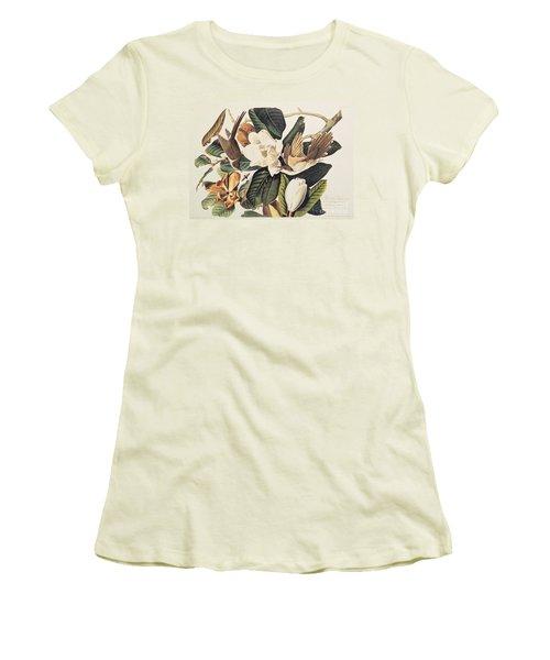 Cuckoo On Magnolia Grandiflora Women's T-Shirt (Junior Cut) by John James Audubon
