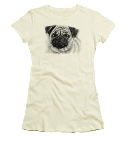 Cute Pug Women's T-Shirt (Junior Cut) by Olga Shvartsur