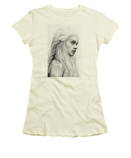 Daenerys Watercolor Portrait Women's T-Shirt (Junior Cut) by Olga Shvartsur