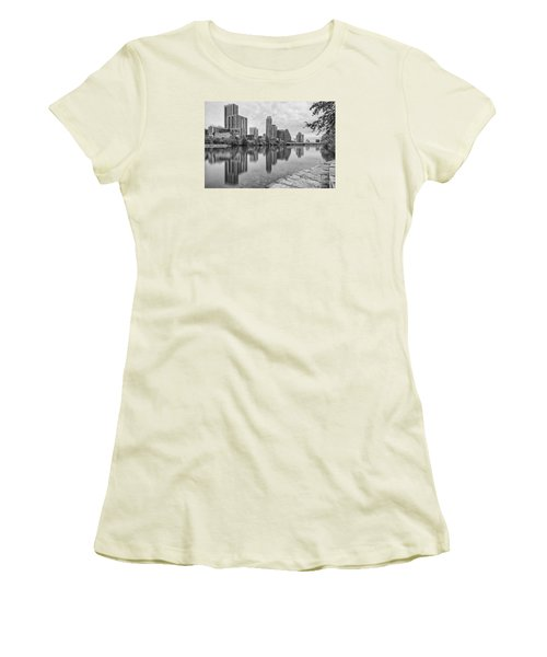 Downtown Austin In Black And White Across Lady Bird Lake - Colorado River Texas Hill Country Women's T-Shirt (Junior Cut) by Silvio Ligutti