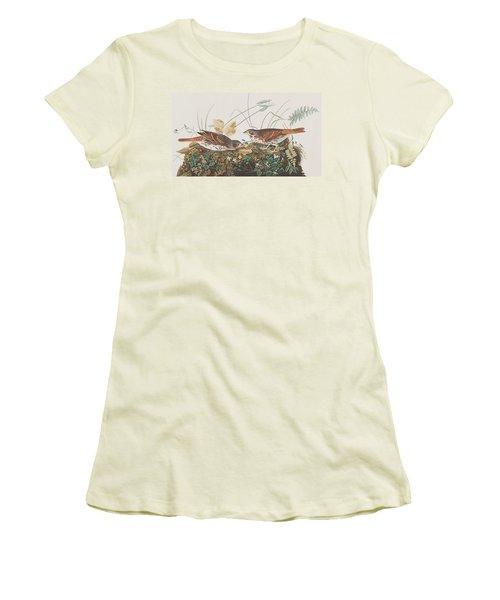 Fox Sparrow Women's T-Shirt (Junior Cut) by John James Audubon