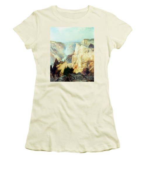 Grand Canyon Of The Yellowstone Park Women's T-Shirt (Junior Cut) by Thomas Moran
