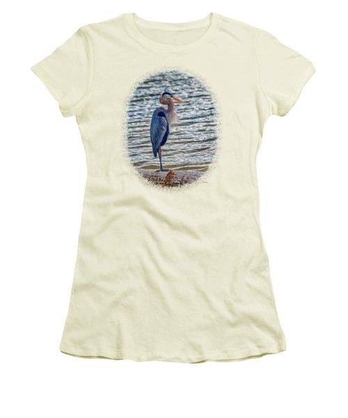 Great Blue Heron Women's T-Shirt (Junior Cut) by John M Bailey