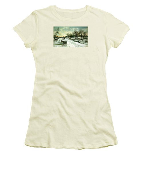 Women's T-Shirt (Junior Cut) featuring the painting Happy Holidays by Travel Pics