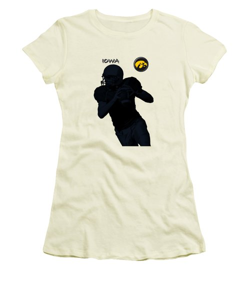 Iowa Football  Women's T-Shirt (Junior Cut) by David Dehner
