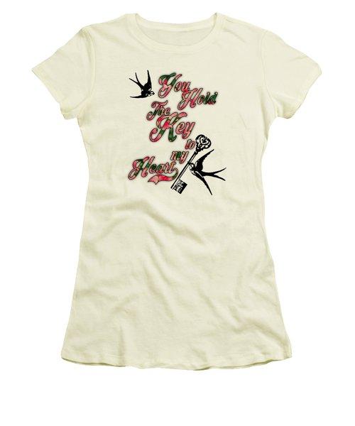 Key To My Heart Dictionary Art Women's T-Shirt (Junior Cut) by Jacob Kuch