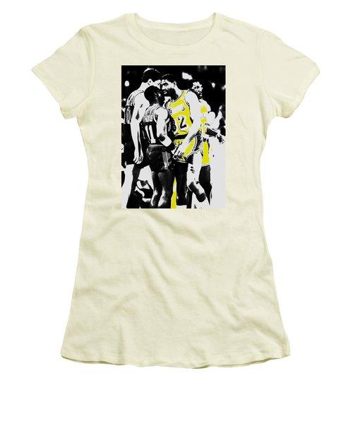Magic Johnson And Isiah Thomas Women's T-Shirt (Junior Cut) by Brian Reaves