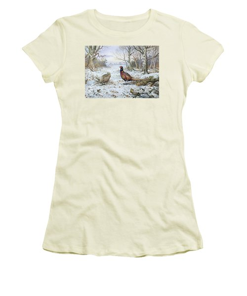 Pair Of Pheasants With A Wren Women's T-Shirt (Junior Cut) by Carl Donner
