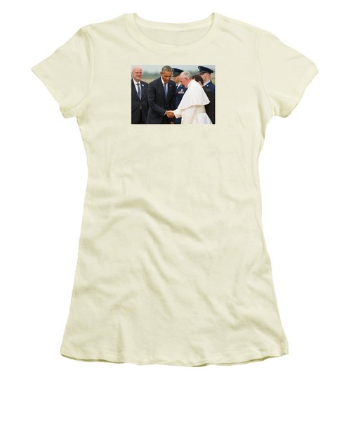 Pope Francis And President Obama Women's T-Shirt (Junior Cut) by Mountain Dreams