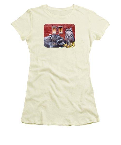 Raccoons Women's T-Shirt (Junior Cut) by Ethna Gillespie