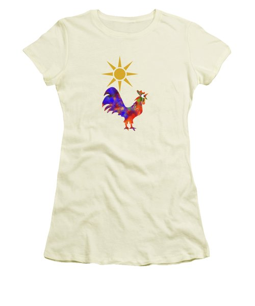 Rooster Pattern Women's T-Shirt (Junior Cut) by Christina Rollo