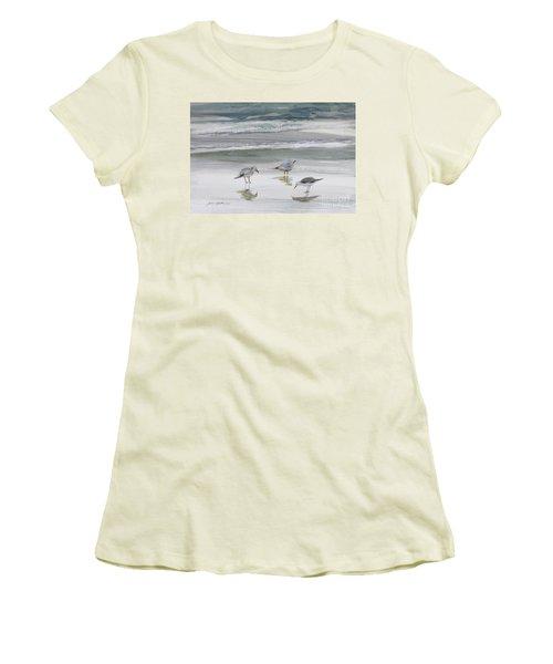 Sandpipers Women's T-Shirt (Junior Cut) by Julianne Felton