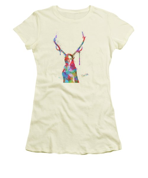 Song Of Elen Of The Ways Antlered Goddess Women's T-Shirt (Junior Cut) by Nikki Marie Smith