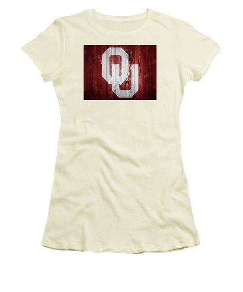 Sooners Barn Door Women's T-Shirt (Junior Cut) by Dan Sproul