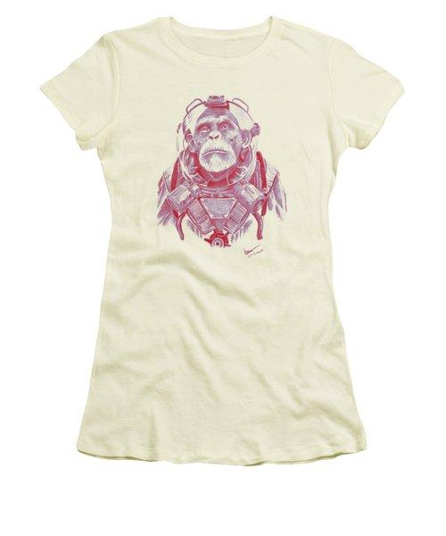 Space Chimp Women's T-Shirt (Junior Cut) by Kenny Noorlander