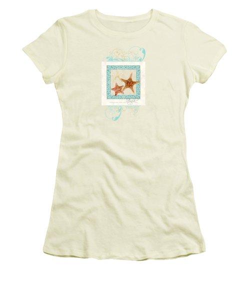 Starfish Greek Key Pattern W Swirls Women's T-Shirt (Junior Cut) by Audrey Jeanne Roberts