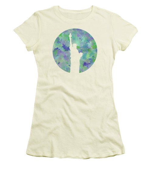 Statue Of Liberty Silhouette Women's T-Shirt (Junior Cut) by Phil Perkins