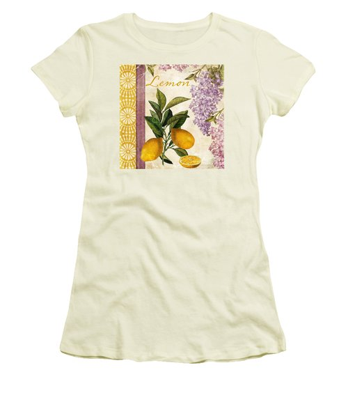 Summer Citrus Lemon Women's T-Shirt (Junior Cut) by Mindy Sommers