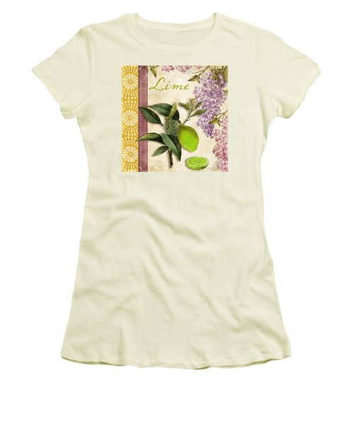 Summer Citrus Lime Women's T-Shirt (Junior Cut) by Mindy Sommers