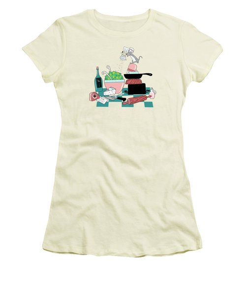 The Hungry Mouse Women's T-Shirt (Junior Cut) by Little Bunny Sunshine