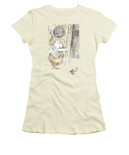 The Ugly Duckling - Bullied By Mean Hen And Proud White Cat - Illustration For Classic Fairy Tale Women's T-Shirt (Junior Cut) by Elena Abdulaeva