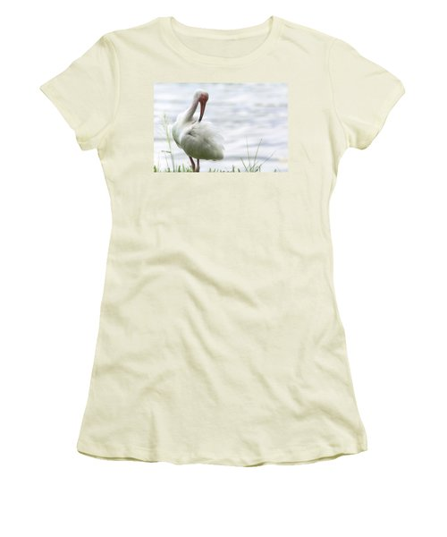 The White Ibis  Women's T-Shirt (Junior Cut) by Saija  Lehtonen