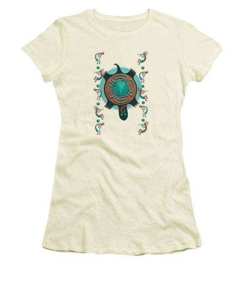 Visitors Anasazi 3d Folk Art Women's T-Shirt (Junior Cut) by Sharon and Renee Lozen