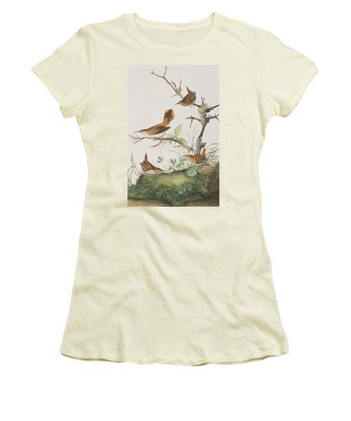 Winter Wren Or Rock Wren Women's T-Shirt (Junior Cut) by John James Audubon