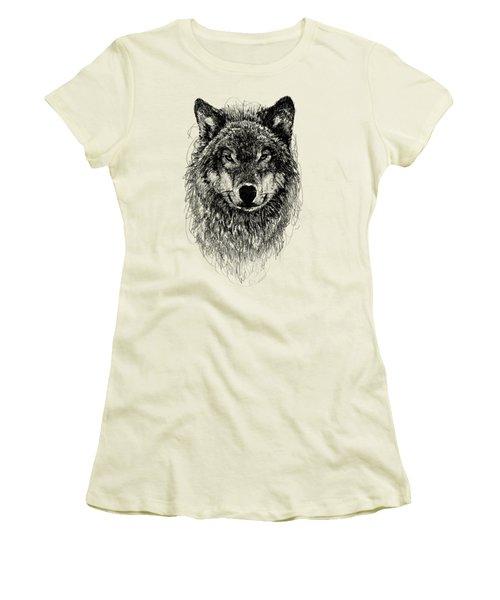 Wolf Women's T-Shirt (Junior Cut) by Michael  Volpicelli
