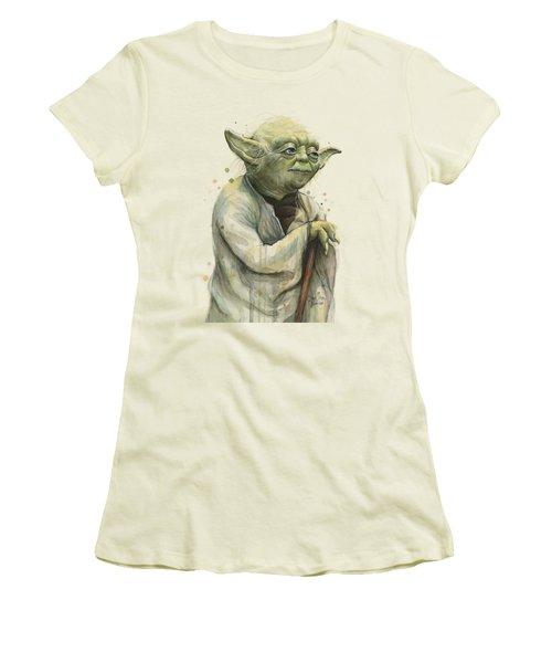 Yoda Portrait Women's T-Shirt (Junior Cut) by Olga Shvartsur