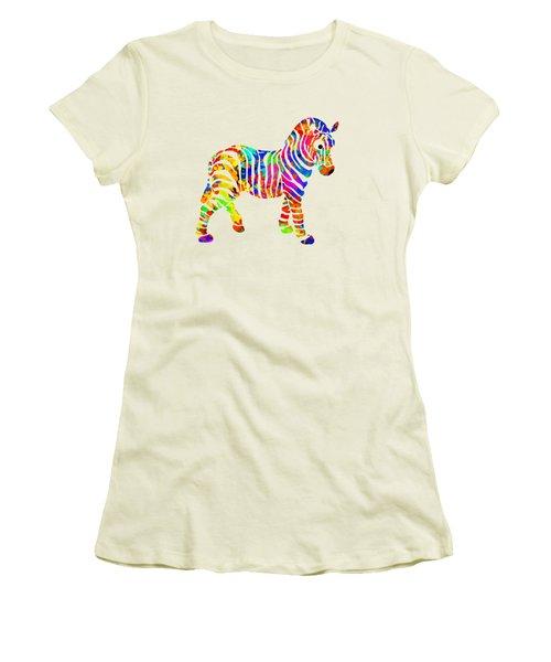 Zebra Women's T-Shirt (Junior Cut) by Christina Rollo